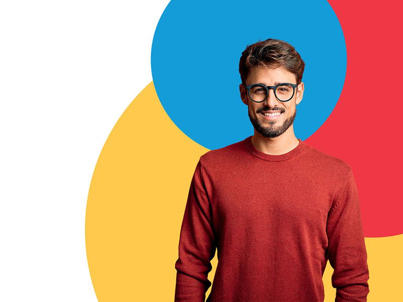 man colored circles background