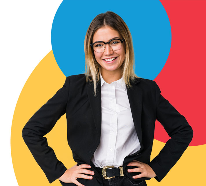 woman with colorful circles background